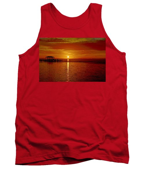 Mass Migration Of Birds With Colorful Clouds At Sunrise On Santa Rosa Sound Tank Top by Jeff at JSJ Photography