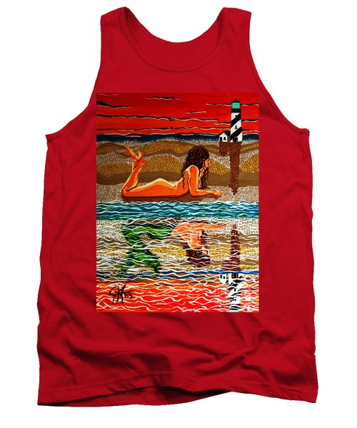 Tank Top featuring the painting Mermaid Day Dreaming  by Jackie Carpenter