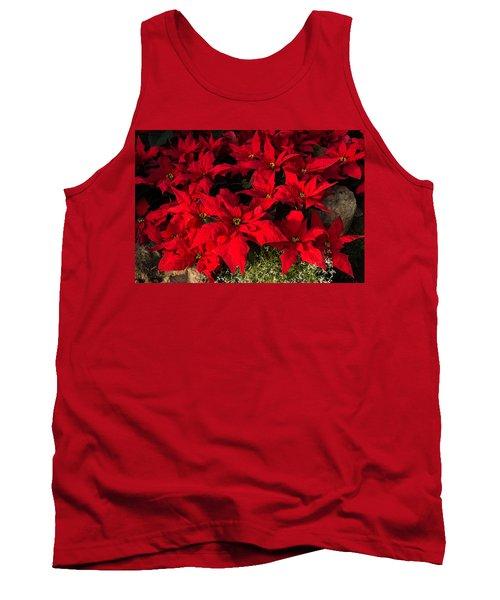Merry Scarlet Poinsettias Christmas Star Tank Top