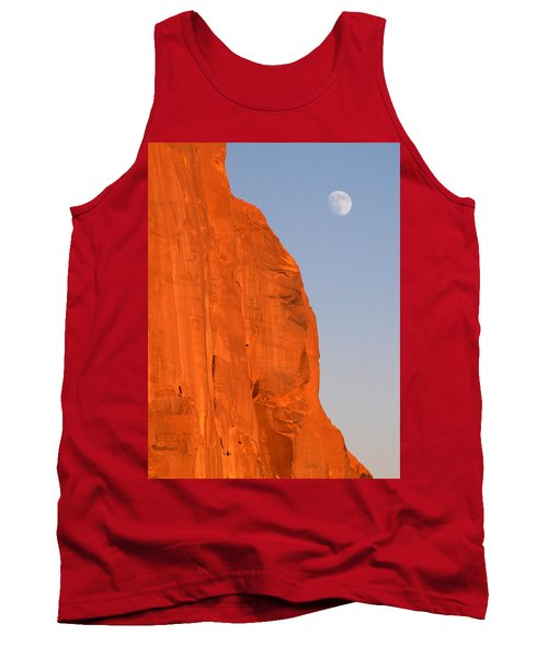 Tank Top featuring the photograph Moon At Monument Valley by Jeff Brunton
