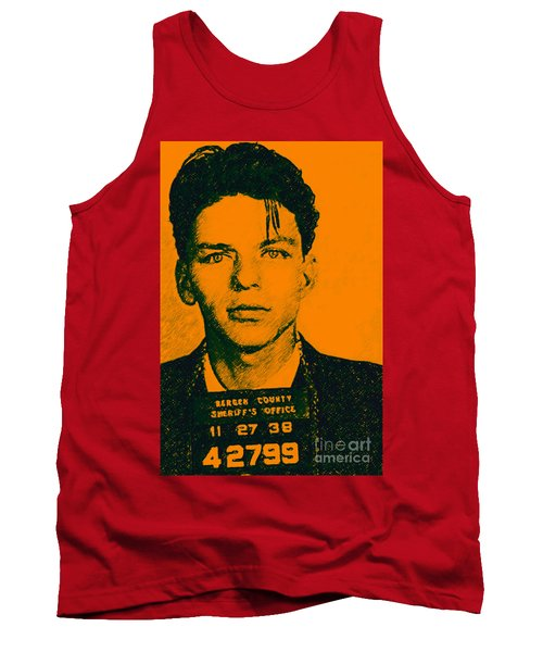 Tank Top featuring the photograph Mugshot Frank Sinatra V1 by Wingsdomain Art and Photography