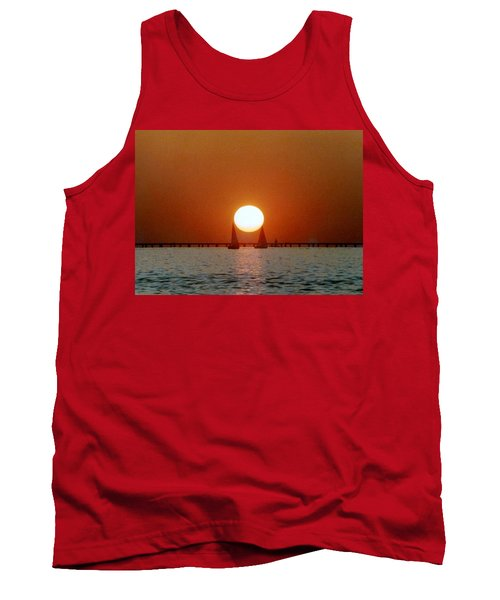 Tank Top featuring the photograph New Orleans Sailing Sun On Lake Pontchartrain by Michael Hoard