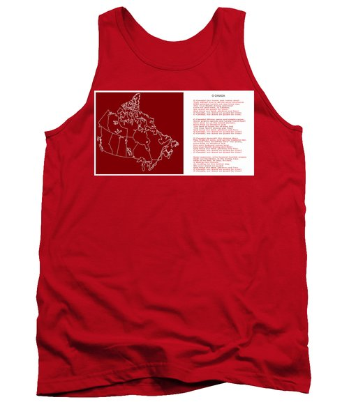 O Canada Lyrics And Map Tank Top