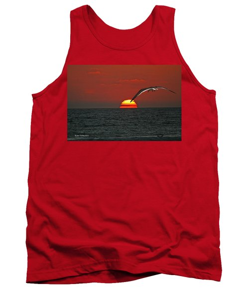 Tank Top featuring the photograph One Black Skimmers At Sunset by Tom Janca