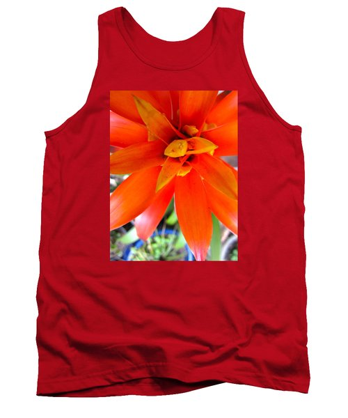 Orange Bromeliad Tank Top by Lehua Pekelo-Stearns