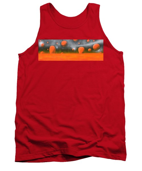Tank Top featuring the painting Orange Planet by Tim Mullaney