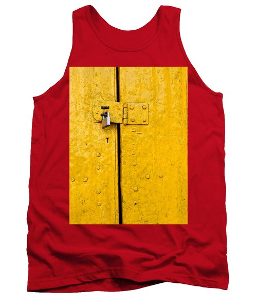 Padlock On An Old Yellow Door Tank Top