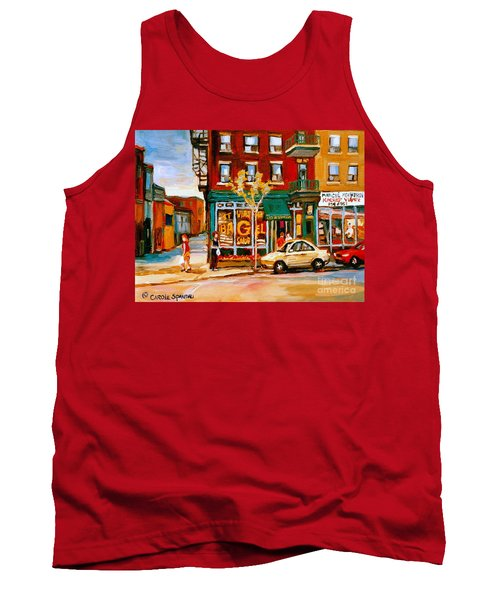 Paintings Of  Famous Montreal Places St. Viateur Bagel City Scene Tank Top