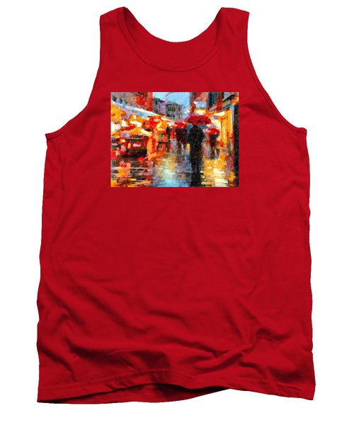 Parisian Rain Walk Abstract Realism Tank Top