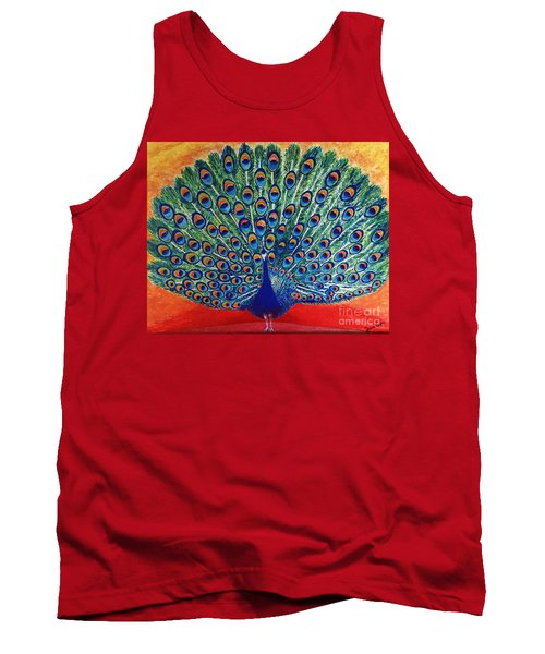 Tank Top featuring the painting Peacock By Jasna Gopic by Jasna Gopic