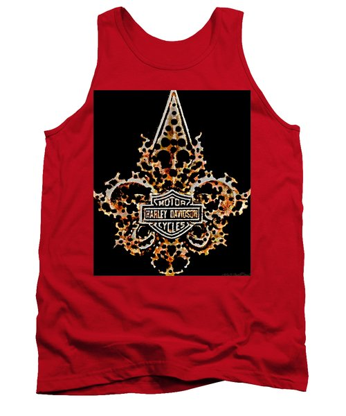 Tank Top featuring the digital art Perforated Fleurs De Lys With Harley Davidson Logo by Danielle  Parent