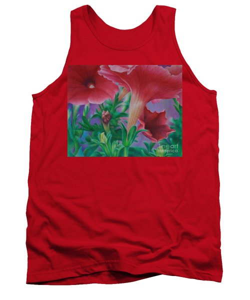 Tank Top featuring the painting Petunia Skies by Pamela Clements