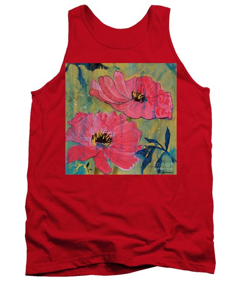 Tank Top featuring the painting Pink Blossoms by Robin Maria Pedrero