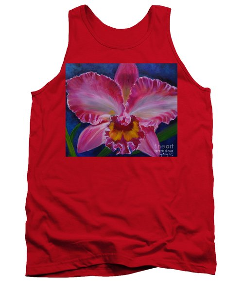 Tank Top featuring the painting Pink Orchid by Jenny Lee
