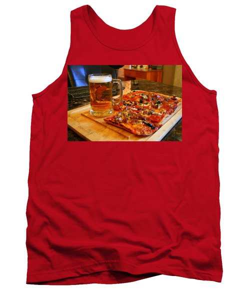Pizza And Beer Tank Top by Kay Novy