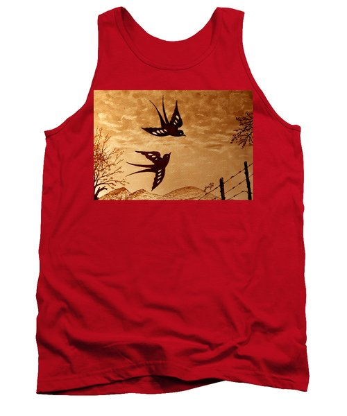 Tank Top featuring the painting Playful Swallows Original Coffee Painting by Georgeta  Blanaru
