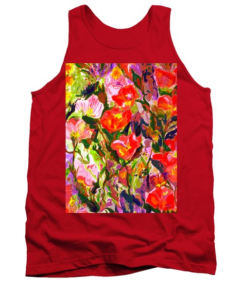 Tank Top featuring the mixed media Poppies by Beth Saffer