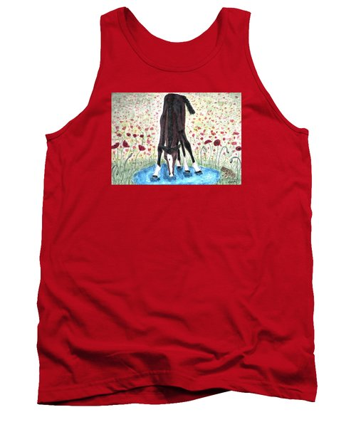 Tank Top featuring the painting Poppies N  Puddles by Angela Davies