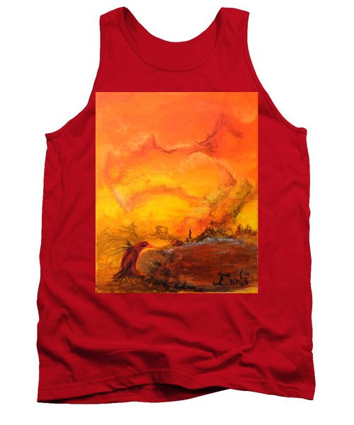 Tank Top featuring the painting Post Nuclear Watering Hole by Christophe Ennis