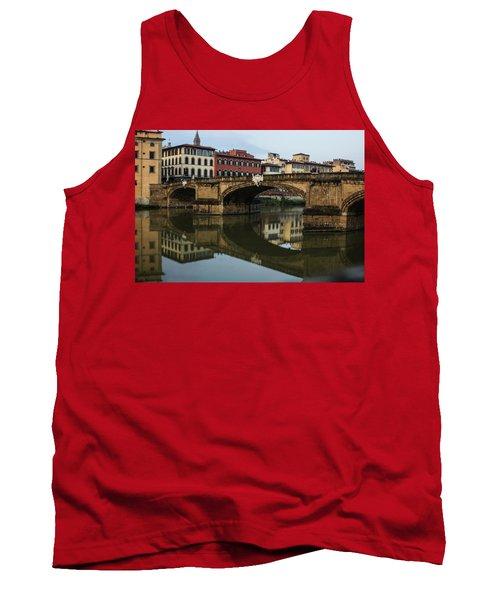 Postcard From Florence - Arno River And Ponte Santa Trinita  Tank Top