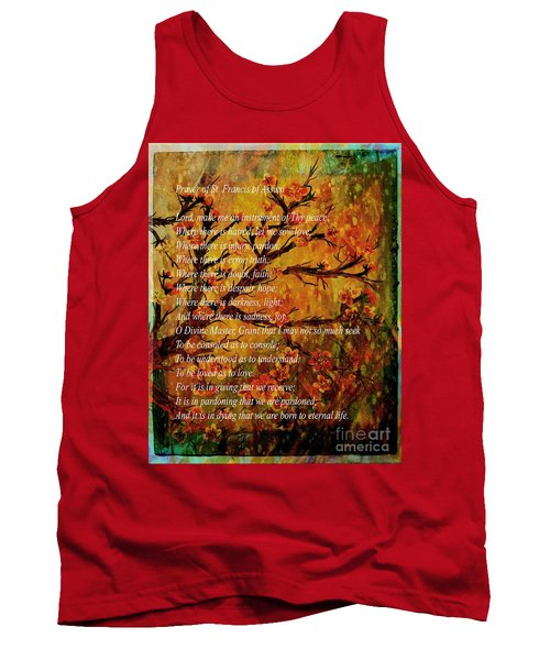 Prayer Of St. Francis Of Assisi  And Cherry Blossoms Tank Top