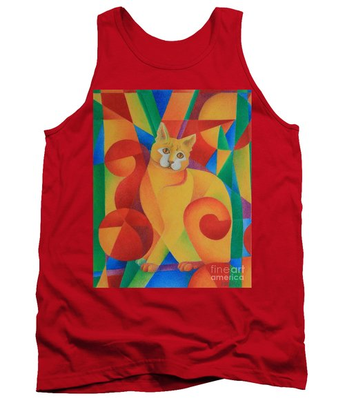 Tank Top featuring the painting Primary Cat II by Pamela Clements
