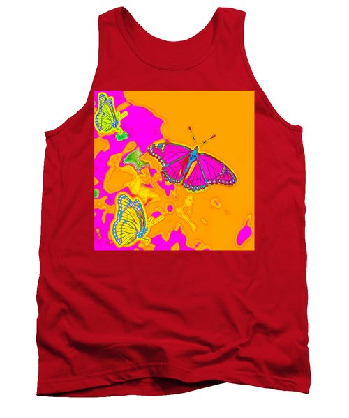 Tank Top featuring the digital art Psychedelic Butterflies by Marianne Campolongo