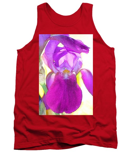 Purple Iris Watercolor Tank Top