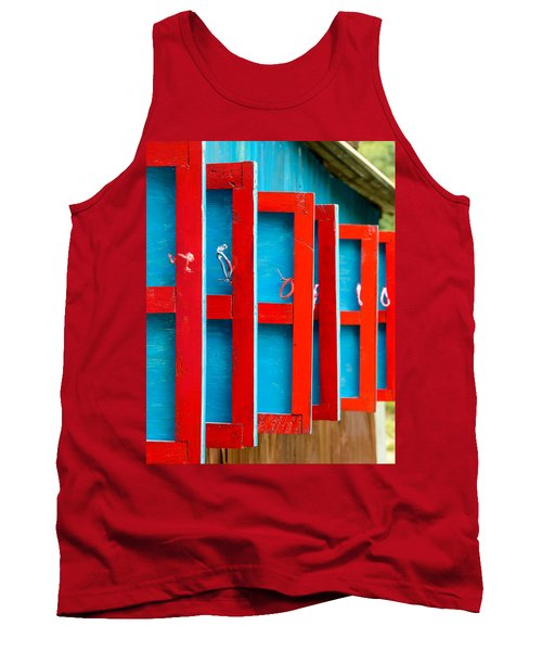 Red And Blue Wooden Shutters Tank Top