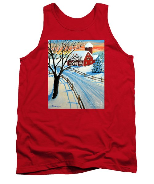 Red Barn In Winter Tank Top by Patricia L Davidson