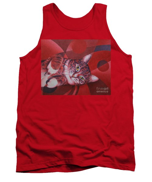 Tank Top featuring the painting Red Feline Geometry by Pamela Clements
