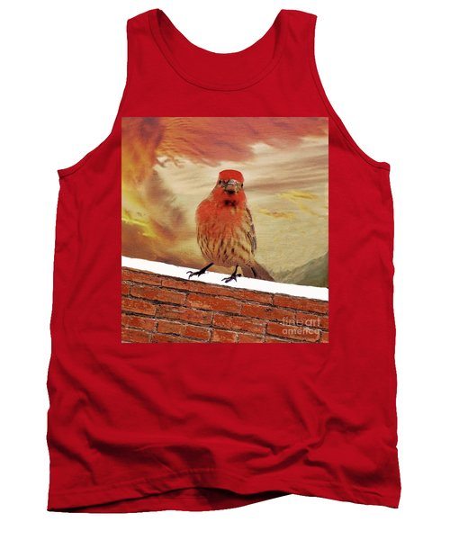 Red Finch On Red Brick Tank Top by Janette Boyd