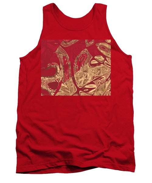 Red Geranium Abstract Tank Top