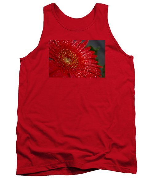 Red Gerber In The Rain Tank Top by Shelly Gunderson