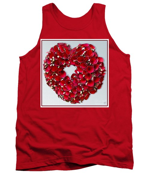 Red Heart Wreath Tank Top by Victoria Harrington