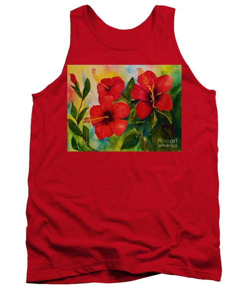 Red Hybiscus  Tank Top