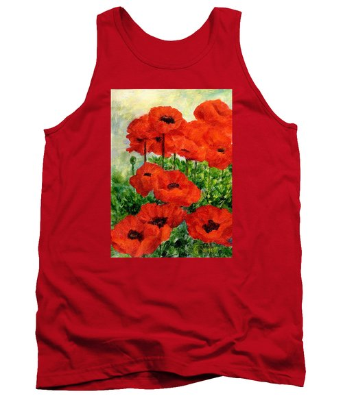 Red  Poppies In Shade Colorful Flowers Garden Art Tank Top