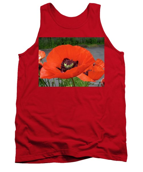 Red Poppy Tank Top by Barbara Griffin