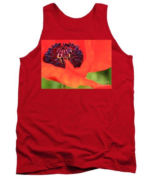 Red Poppy Tank Top by Linda Bianic