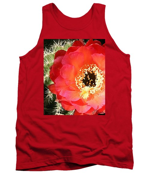 Red Prickly Pear Blossom Tank Top by Ellen Henneke
