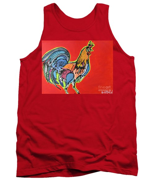 Tank Top featuring the painting Red Rooster by Nicole Gaitan