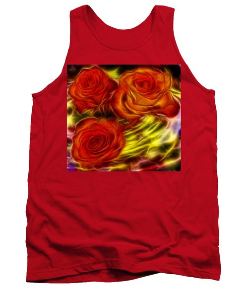 Tank Top featuring the painting Red Roses In Water - Fractal  by Lilia D