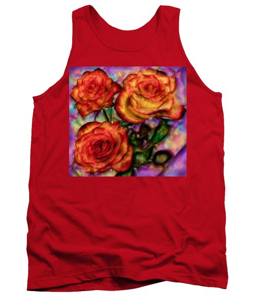 Tank Top featuring the digital art Red Roses In Water - Silk Edition by Lilia D