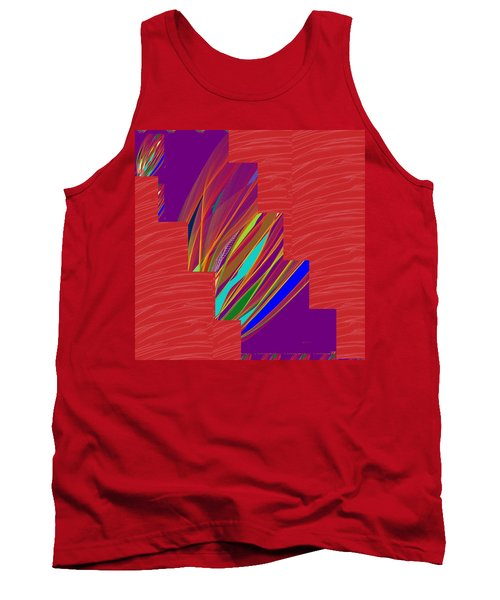 Red Sparkle And Blue Lightening Across Tank Top by Navin Joshi