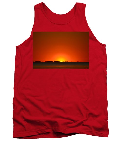 Tank Top featuring the photograph Red Sunset With Superior Mirage On Santa Rosa Sound by Jeff at JSJ Photography
