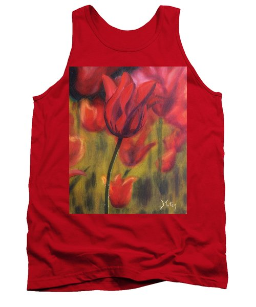 Tank Top featuring the painting Red Tulips by Donna Tuten