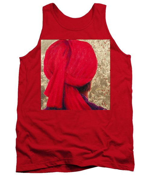 Red Turban On Gold Leaf, 2014 Oil On Canvas With Gold Leaf Tank Top
