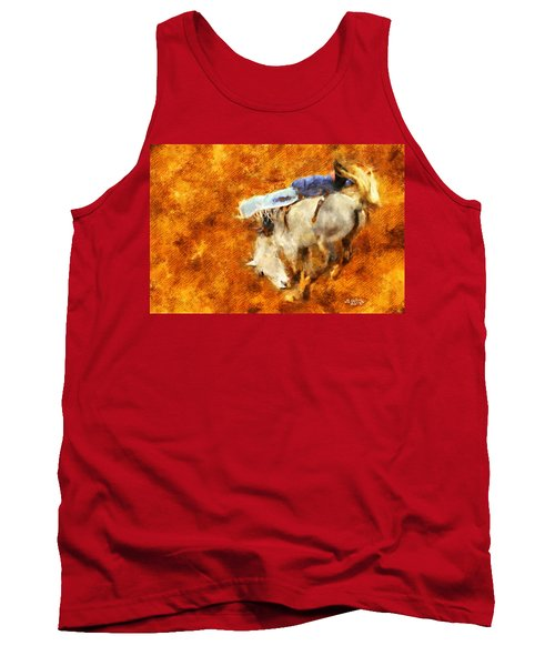 Tank Top featuring the painting Eight-second Ride by Greg Collins