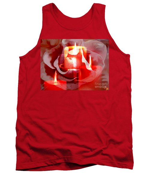 Tank Top featuring the painting Rose Cross And Candles by Annie Zeno