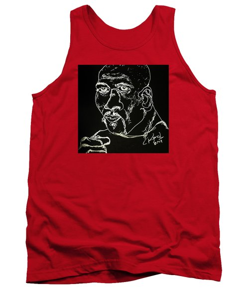 Tank Top featuring the drawing Rubin Hurricane Carter by Rand Swift